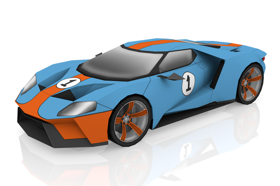 Ford GT scale paper model kit
