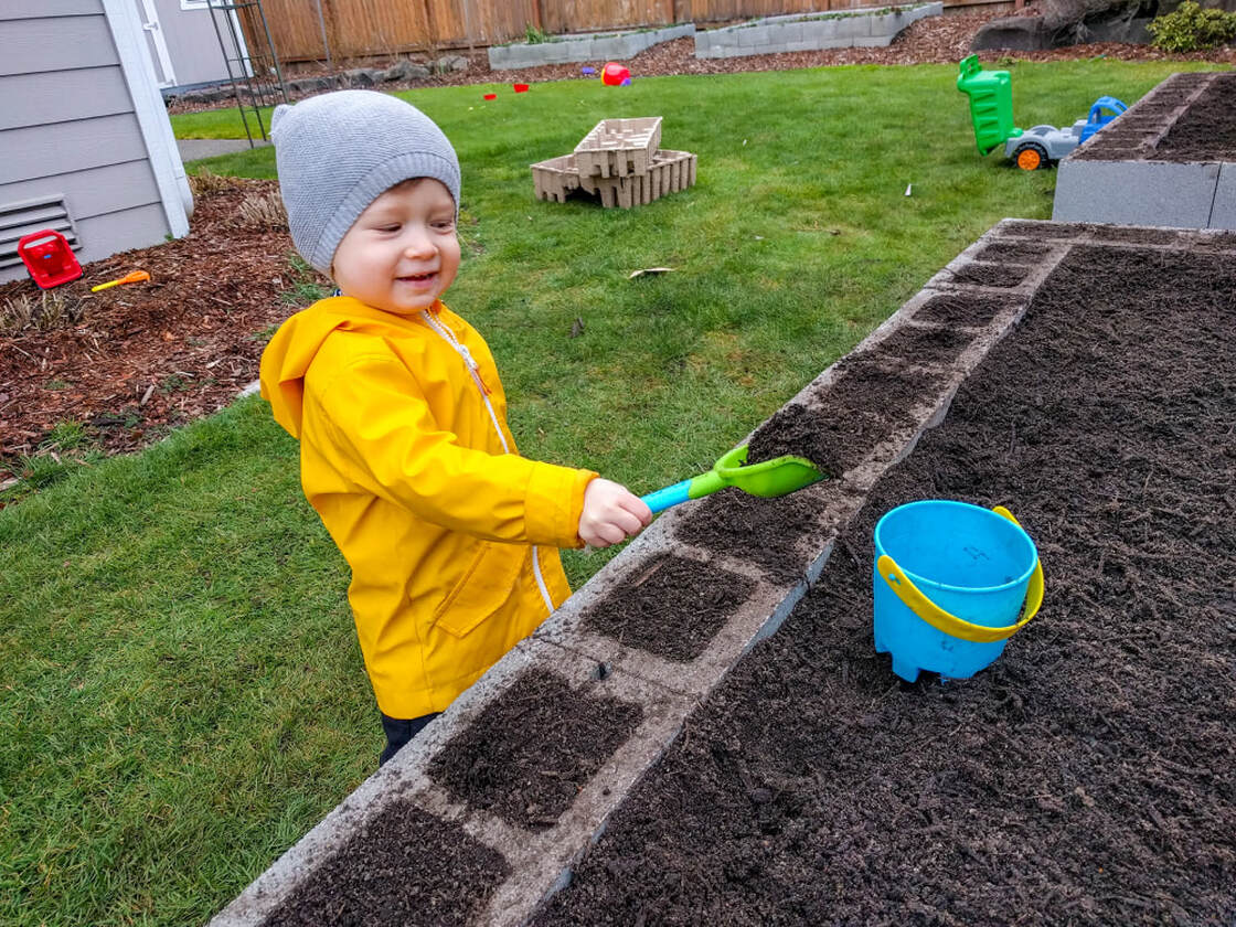 My son doing a quality check on the garden bed soil