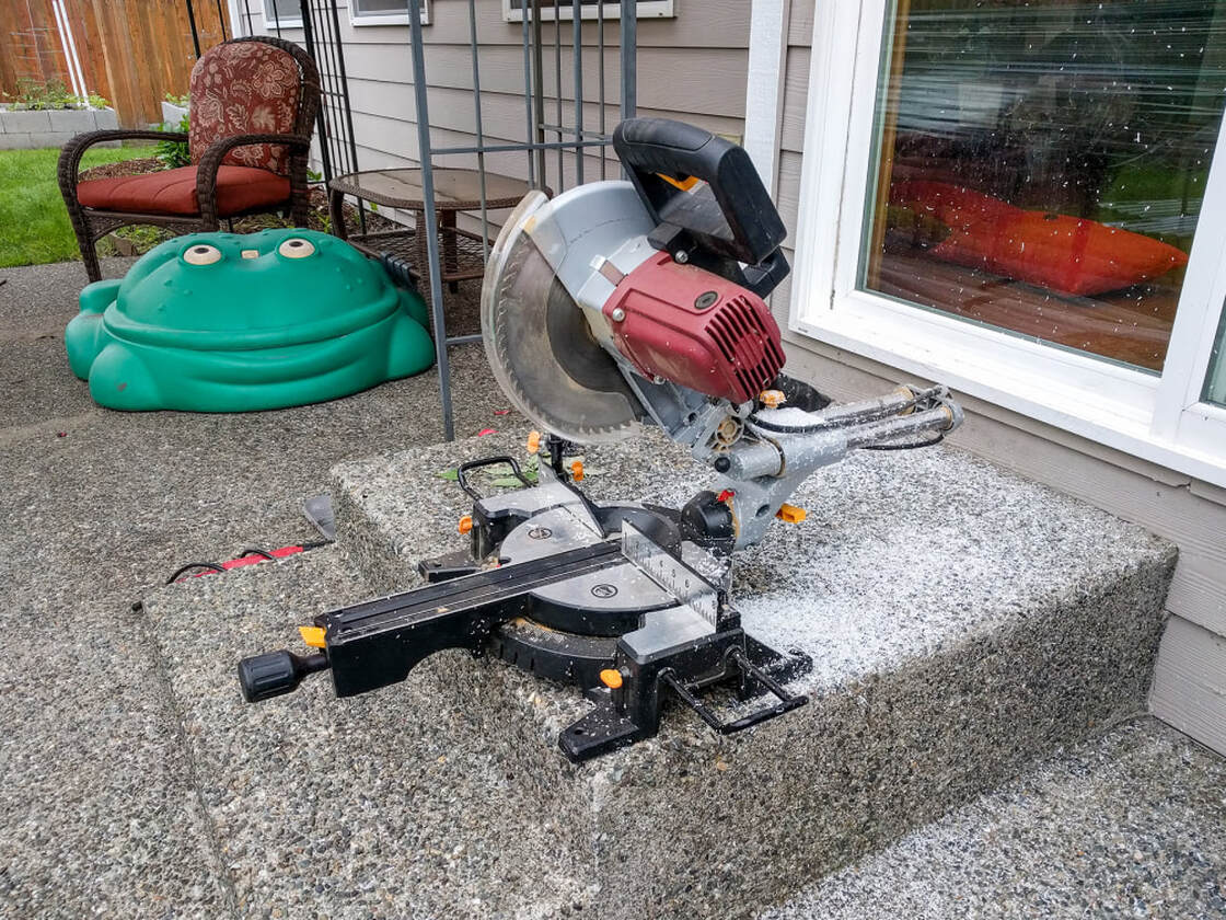 Miter saw used to cut PVC pipes