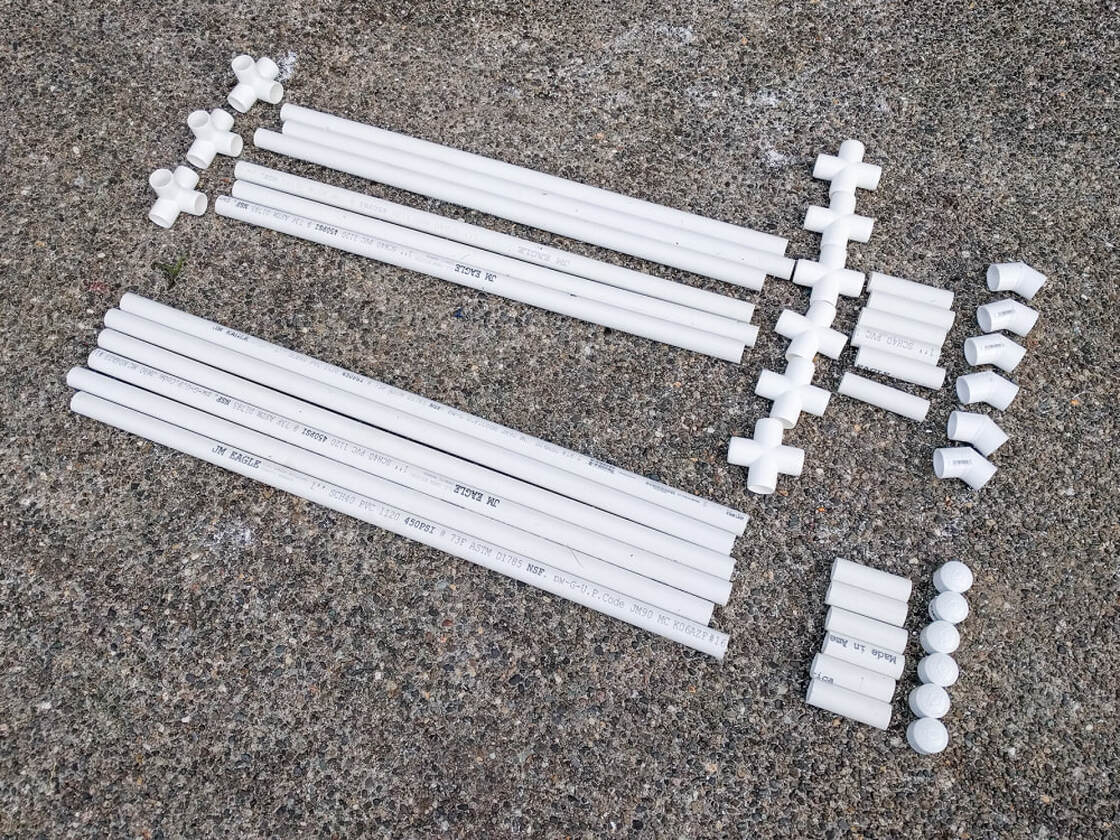 PVC pipes and joints ready to be assembed