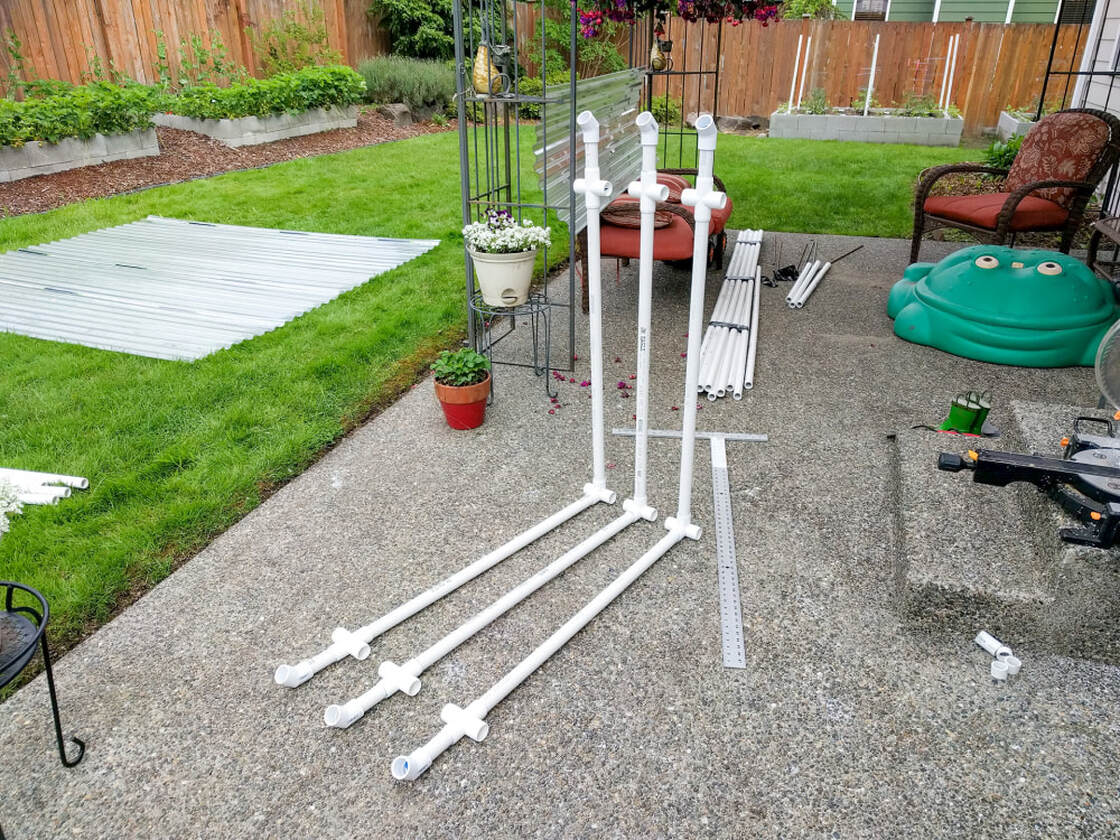 Parts of the PVC canopy framing assembled