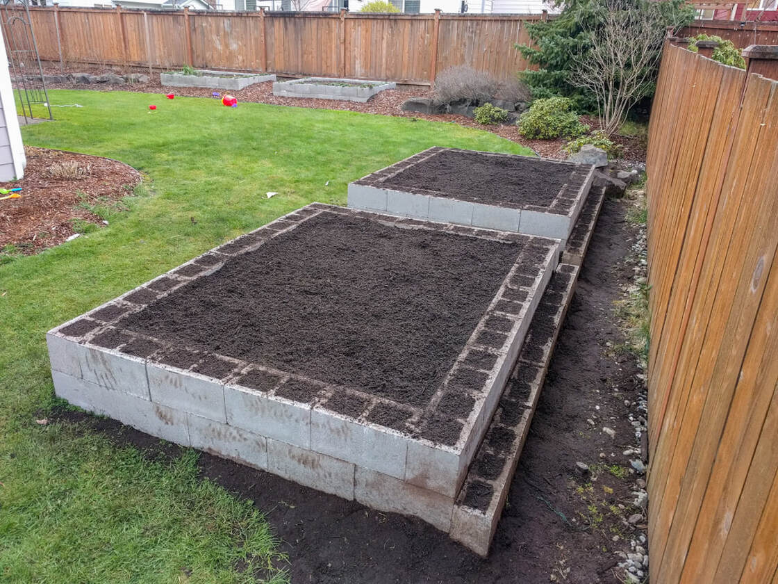Raised garden beds filled with soil