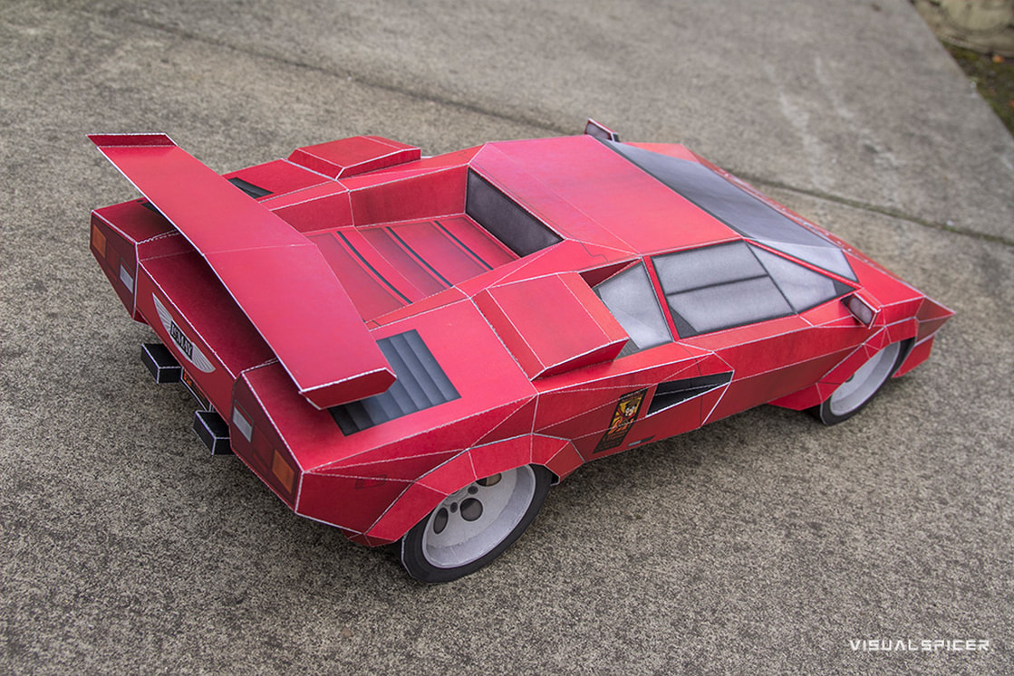 Lamborghini Countach Inspired Printach Papercraft Sports Car