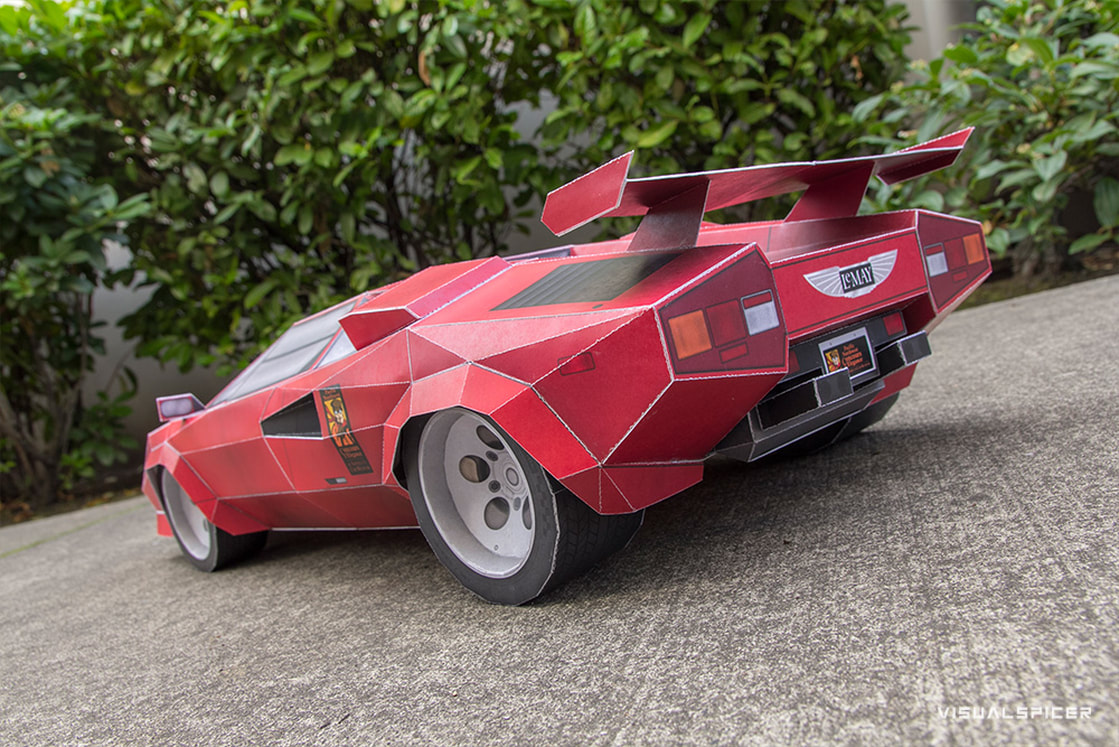 Lamborghini Countach Inspired Printach Papercraft Sports Car Tribute